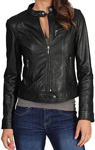 ambskin Leather Moto Biker Jacket - Winter Wear - Round Neck Collar Black 117 - X-Small ()