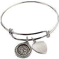 St Peregrine Bracelet Medal Pewter Patron Saint Cancer Adult 2 3/4