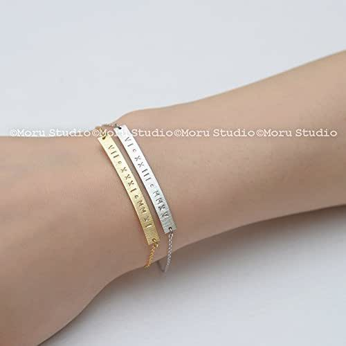Amazon Com Custom Roman Numeral Bar Bracelet Gold