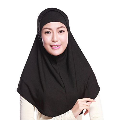 GladThink Womens 2 pieces Muslim Hijab Scarf With More colors Black