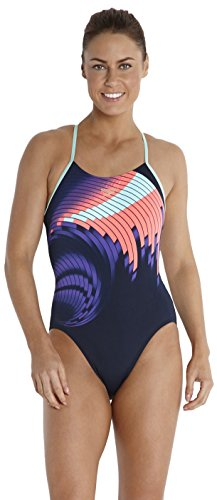 "Speedo Placement Rippleback Print 5 - Traje de una pieza para competición de mujer, color azul, talla UK: 26"" azul"