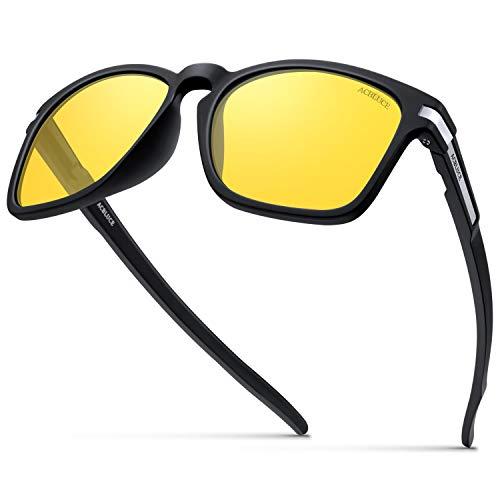 ACBLUCE Night Driving Glasses for Men Women UV 400 Protection Bike Fishing Golf Sunglasses, Matte Black Frame|amber Lense, adult