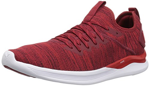 PUMA Men's Ignite Flash Evoknit Sneaker, Dahlia-high Risk red White, 11 M US - Cup Sole Sneaker