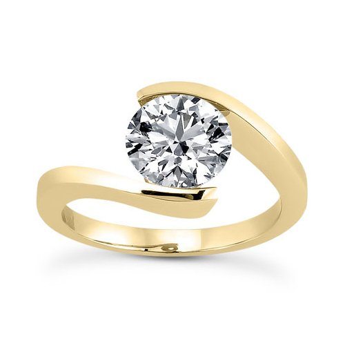 Tension Set Yellow Ring (Tension Set CZ Engagement Ring in 14K Yellow Gold)