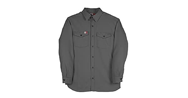 Small Regular 7 oz Westex Ultrasoft Big Bill 1117US7-GRY-S-R FR Shirt Flashtrap Vented Work Shirt Charcoal Gray