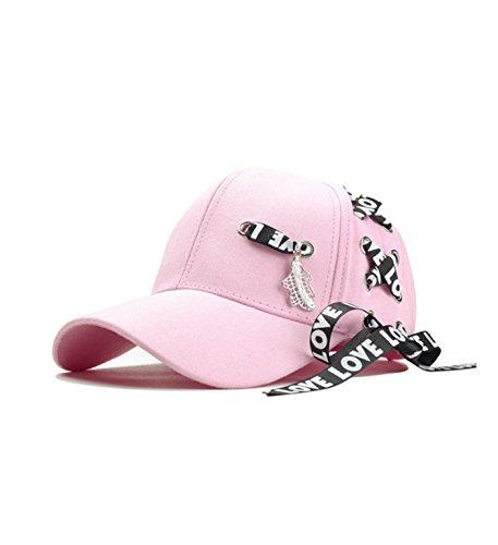 micrkrowen Fashion Long Strap Hat Sunscreen Hip Hop Duck Tongue Shade Cap(Pink) by micrkrowen