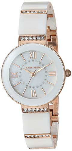 Anne Klein Women's AK/3340WTRG Swarovski Crystal Accented Rose Gold-Tone and White Ceramic Bracelet Watch (Jewelry Watch Ceramic)
