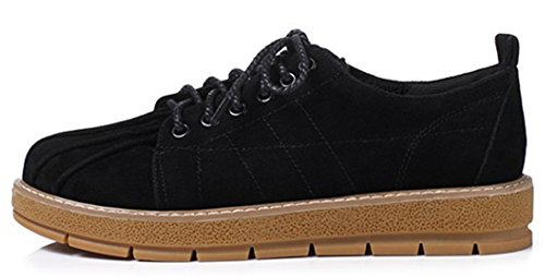 Lace Sneakers Casual Faux IDIFU Oxfords Low Women's Suede Up Top Wedge Heels Low Black Shoes qWIqU4wCY