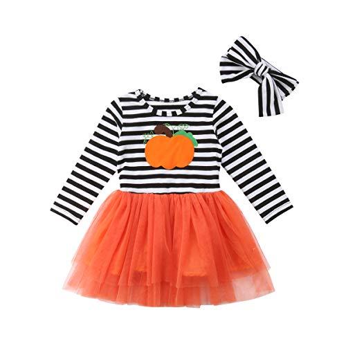 2Pcs Kids Baby Girls Long Sleeve Halloween Striped