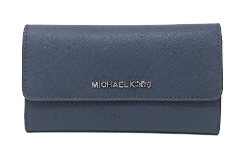 - Michael Kors Jet Set Travel Large Trifold Leather Wallet (Navy/Silver)