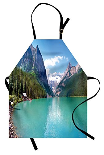 Apron, Mountain and Lake Louise Panorama Banff National Park Alberta Canada Picture, Unisex Kitchen Bib Apron with Adjustable Neck for Cooking Baking Gardening, Turquoise Blue ()