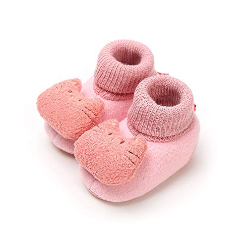 Infant Cat (Save Beautiful Newborn Infant Baby Girls Boys Slippers Warm Fleece Boots First Walkers Shoes (12-18 Months, E-Pink cat))
