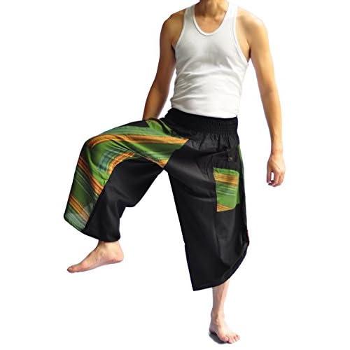 Siam Trendy Thai Style Pants One Size Black Circle Design