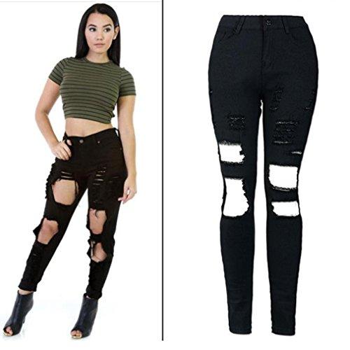 Pantalones Vaqueros Rasgados Mujer LHWY, EláStico Jeans De Cintura Alta Pantalones Push Up Skinny LáPiz