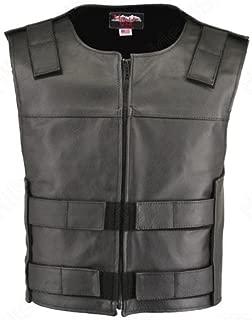 product image for Men's Zippered Street Leather Vest Black