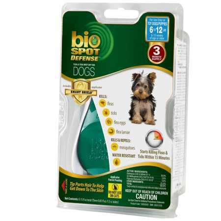Bio Spot Defense Flea and Tick Spot On with Applicator for Dogs 6-12-Pound- 3 Month Supply
