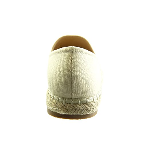 Slip Cm Plat Femme Mode 2 Espadrille Chaussure Angkorly on 5 Talon Jaune Rayures waHx5