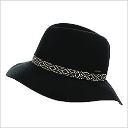 4806b48019d Hatsandscarf CC Exclusives Women s Boho Floppy Aztec Tribal Band Accent  100% Wool Flop Brim Fedora Hat Black Apparel