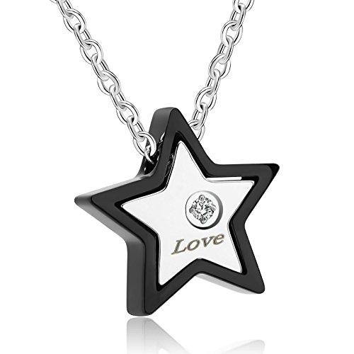 31440d3acbb9 AnaZoz Collar Acero Inoxidable Collar de Unisex Collar Colgante Estrella Circonita  Blanco Collar Parejas Collar Hombre
