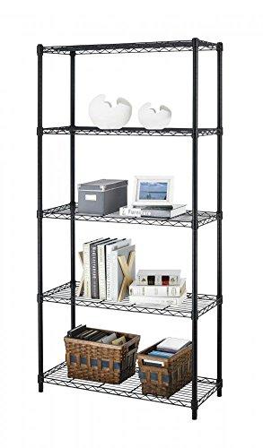 """Black 5-Shelf Steel Wire Tier Layer Shelving 72""""x36""""x14"""" Storage Rack 75"""