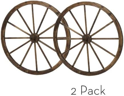 PierSurplus 36 in Steel-Rimmed Wooden Wagon Wheels – Decorative Wall Decor, Set of Two Product