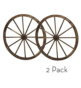 36 In Steel Rimmed Wooden Wagon Wheels   Decorative Wall Decor, Set Of Two