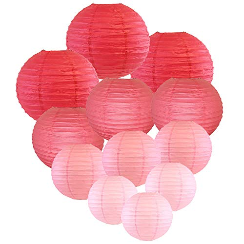 Just Artifacts Decorative Round Chinese Paper Lanterns 12pcs