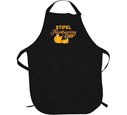 Stifel Thanksgiving Chef Last Name Group Family Cooking Team Apron L Black