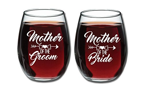 Mother of Bride and Groom 15 oz Stemless Wine Glasses (Set of 2) - Unique Wedding Favor Gifts For Parents - Engagement Gifts For Mother In Law and Brides Mom -