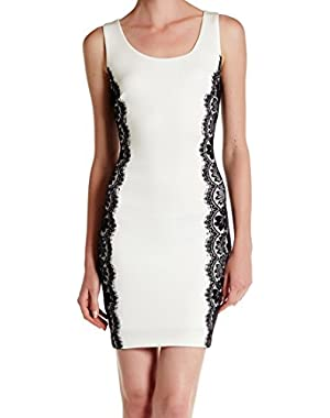 Guess Black Women's Sheath Lace Stretch Scuba Dress White 6