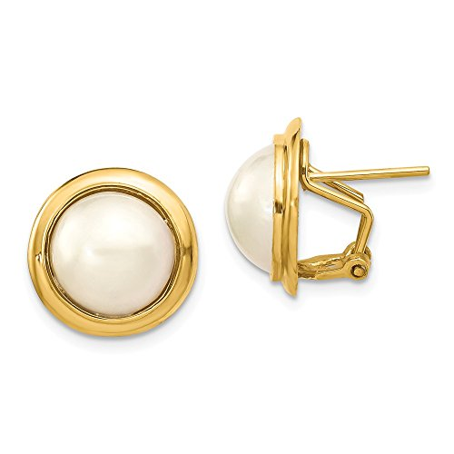 Mia Diamonds 14k Yellow Gold 10-11mm Cultured Mabe Pearl Earrings ()