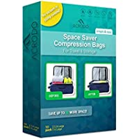 (Pack Of 10) - Acrodo Space Saver Compression Bags 10-pack for Packing and Storage - No Vacuum Rolling Ziplock for Clothing, Travel, Organising, Luggage, and Suitcase