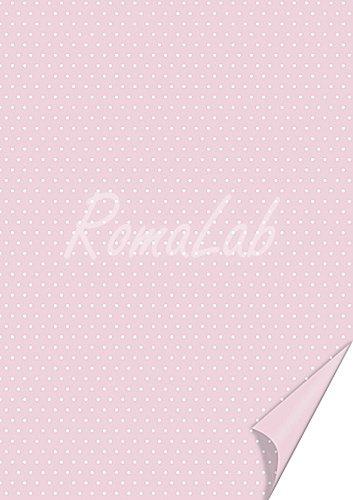 2 FOGLI in cartoncino color rosa A4 stampato a pois bianchi x SCRAPBOOKING