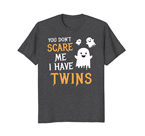 Mens Funny Parents of Twins Shirt Halloween Gift Large Dark Heather