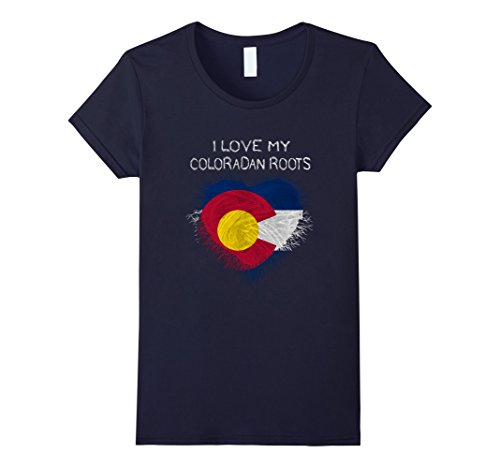 Womens I Love My Coloradan Roots Colorado T Shirt Small Navy