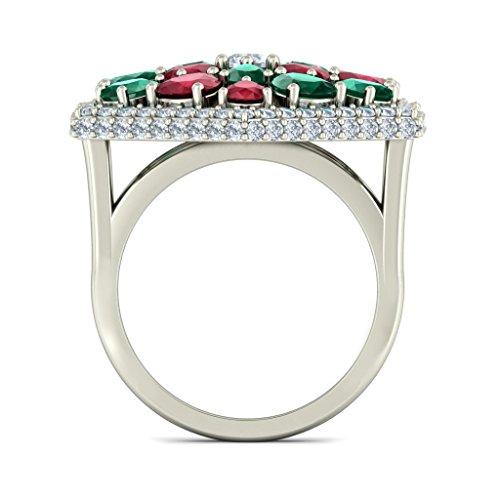 14K Or blanc, 1,02CT TW Diamant Blanc (IJ | SI) Rubis, Émeraude et diamant Bague