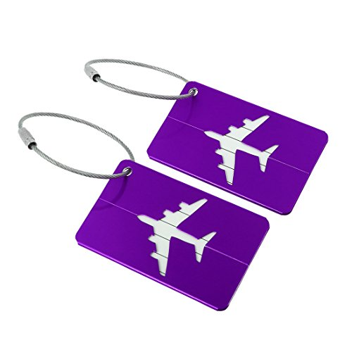 uxcell Aluminium Metal Travel Luggage Tags Bag Suitcase Baggage Name Address ID Card Labels, Purple, 2 Pack of set