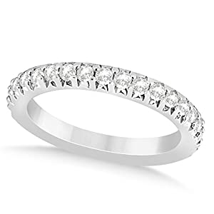 (0.60ct) Platinum Diamond Accented Prong Set Wedding Band