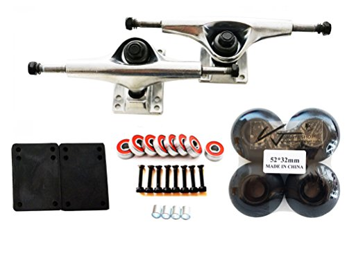 "VJ Skateboard Combo 5"" Trucks Silver, 52mm Skateboard Wheels, Abec7 Bearings, Screws, Riser Pads, Spacers (Black wheels)"