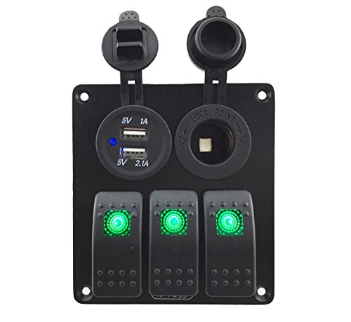 Marine Green (Iztoss 3 gang rocker switch panel with power socket 3.1A dual USB wiring kits and Decal Sticker Labels DC12V/24V for Marine Boat Car Rv Vehicles Truck green led S698-B)