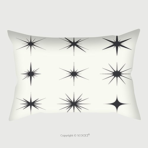Custom Satin Pillowcase Protector Vector Set Of Sparkle Lights Stars. Stars With Rays, Explosion, Fireworks. Light Background Pillow Case Covers Decorative by chaoran