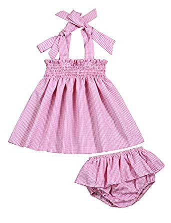 Hipea Infant Newborn Girl Clothes Summer Slip Dresses+Shorts Pants Bloomer 2PCS Baby Girl Sunsuit Outfits Set - Pink - 12-18 Months