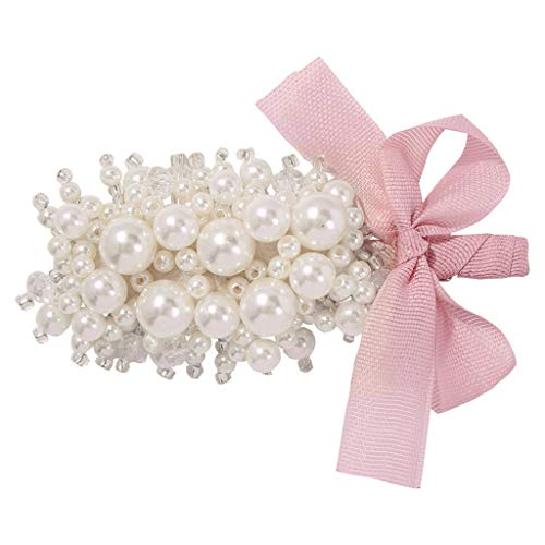 ballboU-Wedding Party Side Bangs, Alligator Clip Women Imitation Pearl Beaded Flower Hairpin Lace Bowknot Barrettes