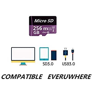 256GB Micro SD Memory Card High Speed Class 10 Micro SD SDXC Card with SD Adapter