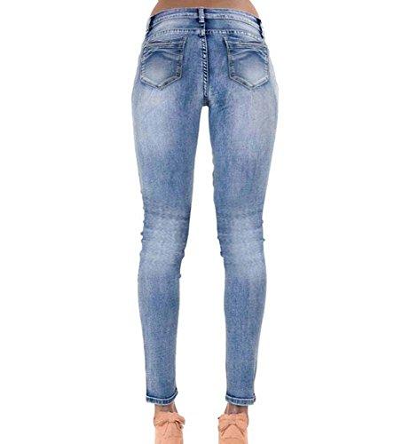 Elastici Blu Skinny Alta Pantaloni Jeans Donna Fori Slim qt7Uv