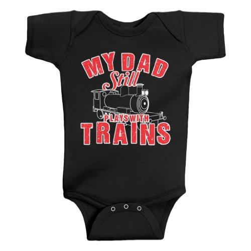 Threadrock Unisex Baby My Dad Still Plays With Trains Bodysuit 6M Black ()