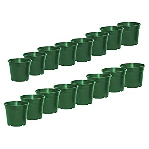 ALEKO® 100PP130GR Round Green Thermoformed Nursery Plastic Garden Seedlings Pots for Plants and Flowers, Lot of 100