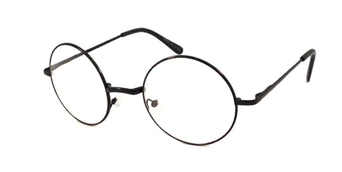5d0017874 JOHN LENNON Vintage Round Retro Large Metal Frame Clear Lens Eye Glasses  Black