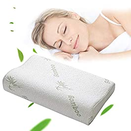 Purdashian Bamboo Cool Orthopaedic Pillow for Neck Pain, Cooling Anti Snore Pillows for Sleeping, Shredded Memory Flake Foam, Hypoallergenic, Relieves from Migraines, Asthma & Allergy Relief,