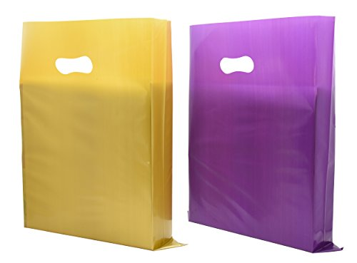 Horng Bin 200 Merchandise Bags with D2W(biodegradable plastic bags) 12x15 Golden and Purple Merchandise Bags, 2.25 Mil, LDPE Reusable Shopping Bags with Die Cut (Compostable Plastic Grocery Bags)